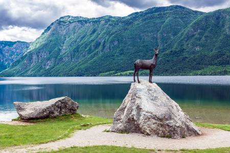 Lake Bohinj, statue of a Gold-Horned Chamois