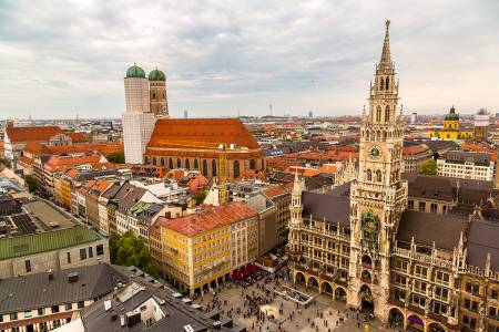 Marienplatz Town Hall and Frauenkirche in Munich