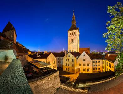 Old Town And Saint Nicholas (Niguliste) Church In Tallinn, Estonia