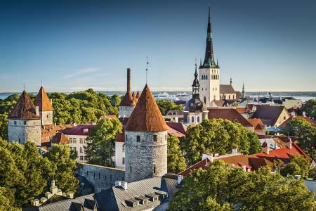 Old Town Skyline Of Toompea Hill In Tallinn