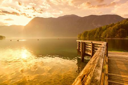 Sunset on the lake Bohinj in Triglav national park