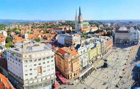 View from above of Ban Jelacic Square in Zagreb