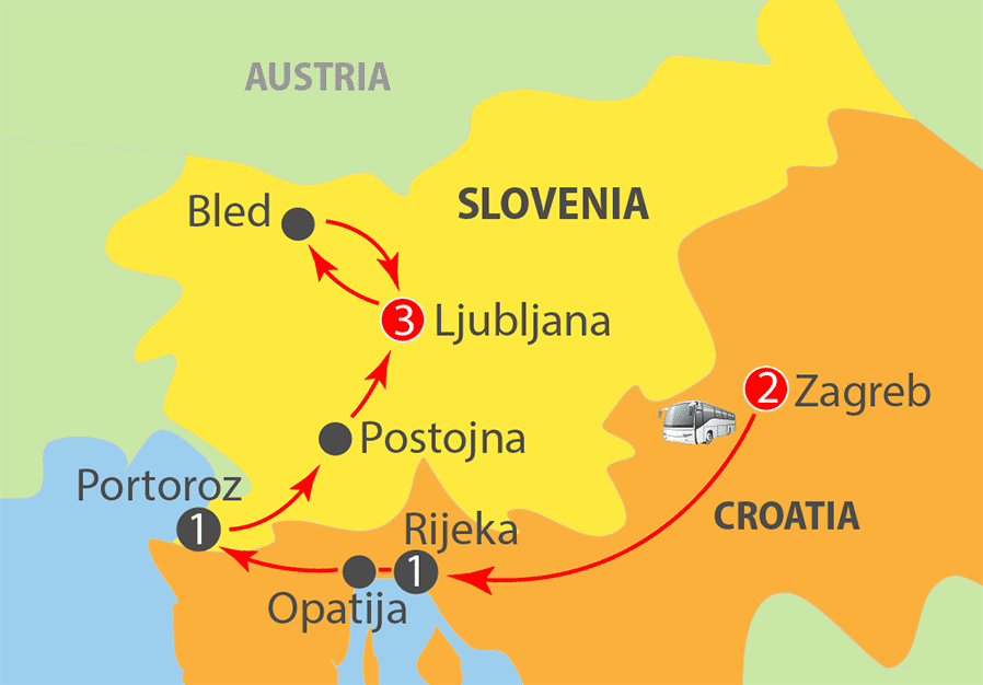 Slovenia and Croatia - The Magic of Christmas Tour Map