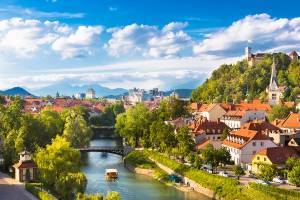 Cityscape of the Slovenian capital Ljubljana