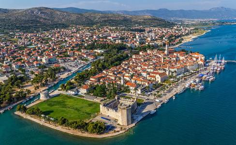 Trogir Old Town Panorama with Kamerlengo Castle