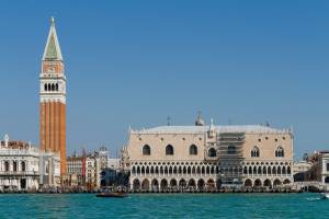 Bell tower of St. Mark and the Doge's Palace in Venice